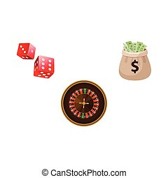 Gambling symbols - roulette, dices and money bag