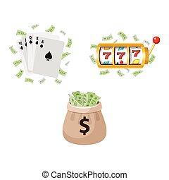 Gambling symbols - slot machine, cards, jackpot