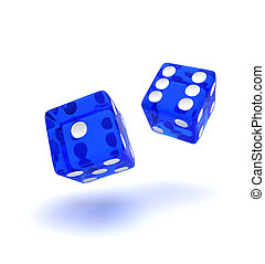 Two blue semi transparent dice showing the number one and six