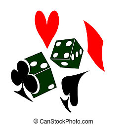 two die or dice and a heart spade diamond and club representing playing cards