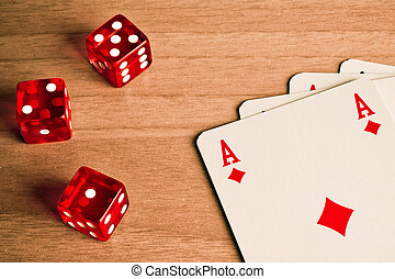 gambling with dice and cards