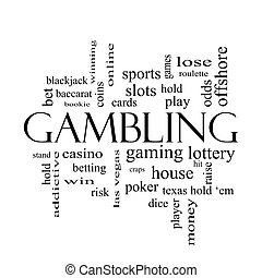 Gambling Word Cloud Concept in black and white with great...