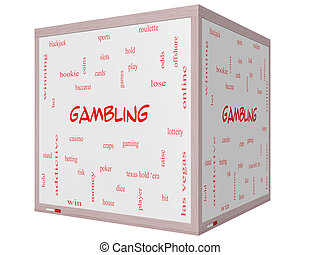 Gambling Word Cloud Concept on a 3D cube Whiteboard with...