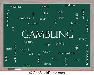 Gambling Word Cloud Concept on a Blackboard with great terms...