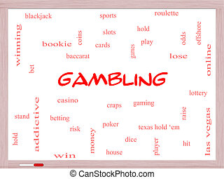 Gambling Word Cloud Concept on a Whiteboard with great terms...