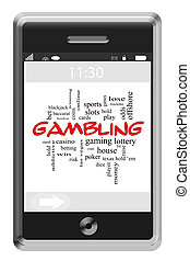 Gambling Word Cloud Concept on Touchscreen Phone - Gambling...
