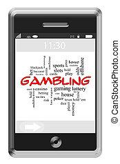 Gambling Word Cloud Concept on Touchscreen Phone - Gambling...