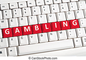 Gambling word on keyboard - Gambling word on white keyboard