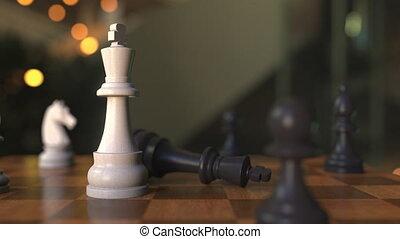 game., échiquier, 3d animation, compagnon, échec mat, gros plan, ou, échecs
