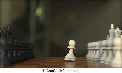 game., échiquier, réaliste, animation, échecs, gros plan, 3d