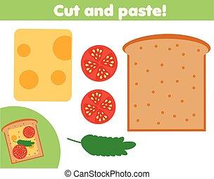 game., 作りなさい, ペーパーを切りなさい, 教育, のり, sanwich, はさみ, 子供, 創造的, activity.