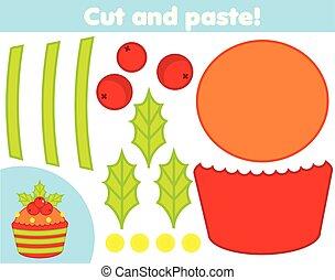 game., 作りなさい, cupcake, ペーパー, 切口, 新しい, 教育, クリスマス, のり, はさみ, 子供, 創造的, 年, activity.