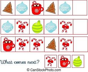game., 子供, 次に, 何か, クリスマス, 継続しなさい, 新しい, ホリデー, 子供, 横列, 来る, シート, 年, task., 教育, 活動, 主題
