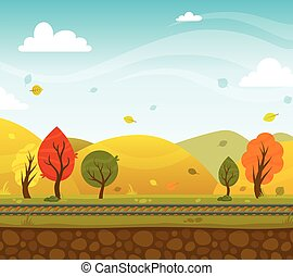 Game 2d Park Landscape - Game 2d autumn park landscape with...