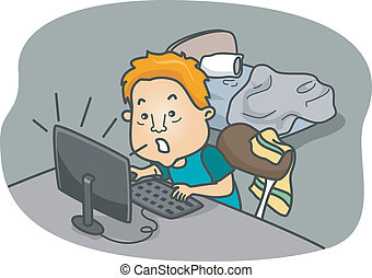 Game Addict - Illustration of a Man Addicted to Online Games