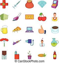 Game addiction icons set, cartoon style