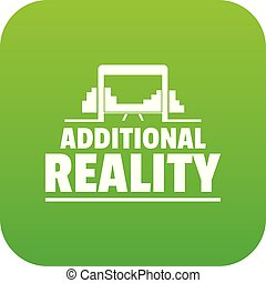 Game additional reality icon green vector