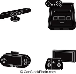 Game and tv set-top box cartoon icons in set collection for