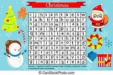 game., année, recherche, nouveau, kids., fetes, eductaional, noël, thème, vocabulaire, apprentissage, page, puzzle., amusement, mot, enfants