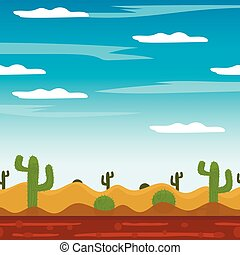 game background cactus desert heat journey cartoon