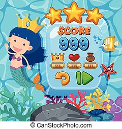 Game background template with mermaid underwater