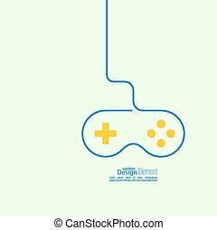 Game background wire and joystick. outline. The concept of...