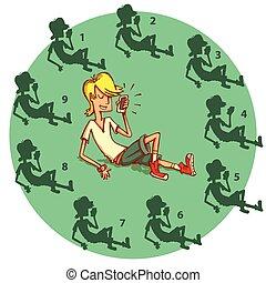 game., beweeglijke telefoon, no.3., schaduw, oplossing, tiener, visueel