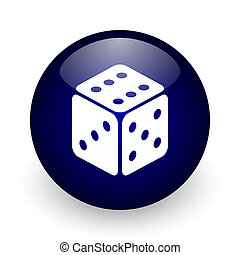 Game blue glossy ball web icon on white background. Round 3d render button.