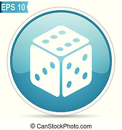 Game blue glossy round vector icon in eps 10. Editable modern design internet button on white background.