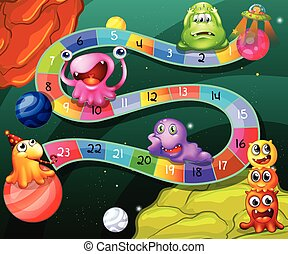 Game - Board game with numbers and aliens theme