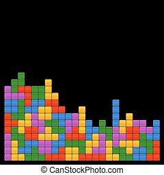 Game Brick Tetris Template on Black Background. Vector Illustrations