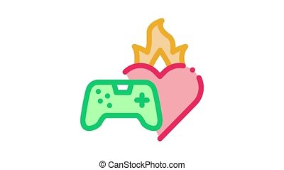 game burning heart Icon Animation. color game burning heart animated icon on white background