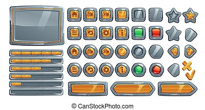 Game buttons, cartoon stone, metal and gold keys