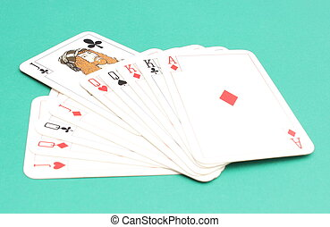 Composition of game card isolated on green background
