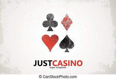 game., casino, tarjetas, logotipo, icon., póker