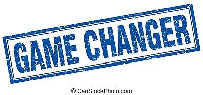 game changer blue square grunge stamp on white
