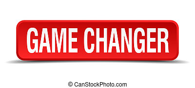 game changer red 3d square button on white background