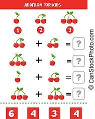 game., cherries., 数学, 增加, 漂亮, 卡通漫画