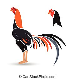 Game-cock hand drawn sketch on white background , vector illustration