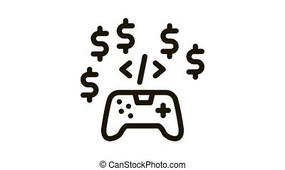 game coding and sell Icon Animation. black game coding and sell animated icon on white background