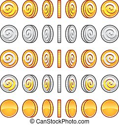Game coins gold, silver rotation set symbol