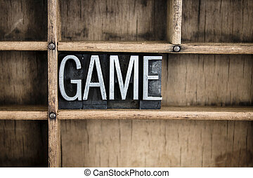Game Concept Metal Letterpress Word in Drawer