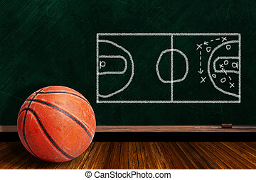 Game Concept With Basketball and Chalk Board Play Strategy...