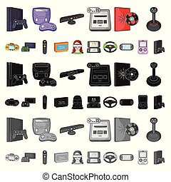 Game console and virtual reality cartoon icons in set collection for design. Game Gadgets vector symbol stock web illustration.