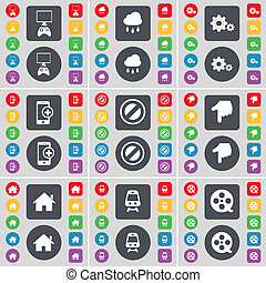 Game console, Cloud, Gear, Smartphone, Stop, Hand, House, Train, Videotape icon symbol. A large set of flat, colored buttons for your design.