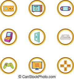Game console icon set, cartoon style
