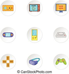 Game console icons set, cartoon style