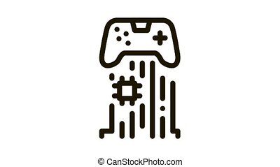 game controller chip Icon Animation. black game controller chip animated icon on white background