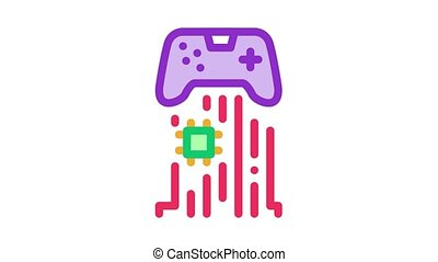 game controller chip Icon Animation. color game controller chip animated icon on white background