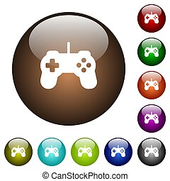 Game controller color glass buttons